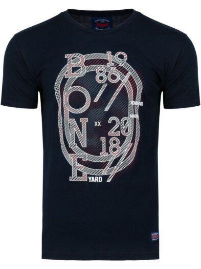 Koszulka T-shirt Męski z Nadrukiem Granatowa Art-8033