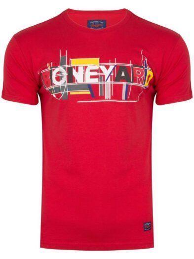 Koszulka Męska T-shirt z Nadrukiem Czerwona Art-8342