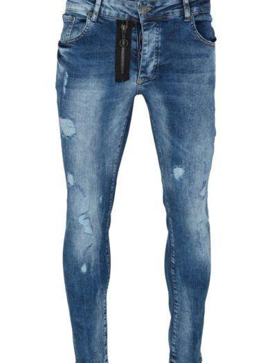 Granatowe Jeansy z Przetarciami Boneyard z sozdobnym suwakiem Art-5002