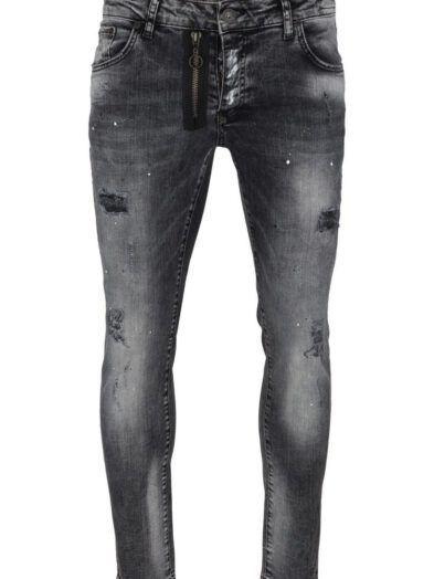 Jeansy czarne przecierane z ozdobnym suwakiem Art-5004