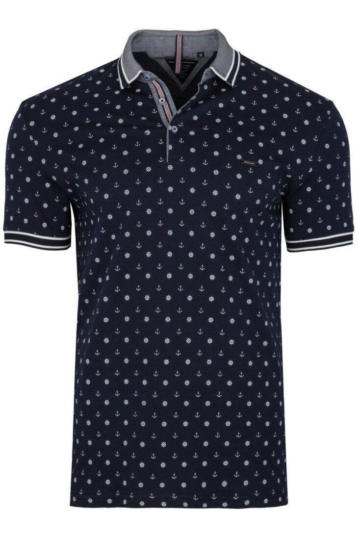 Koszulka Polo Granatowa Wzór BY6023