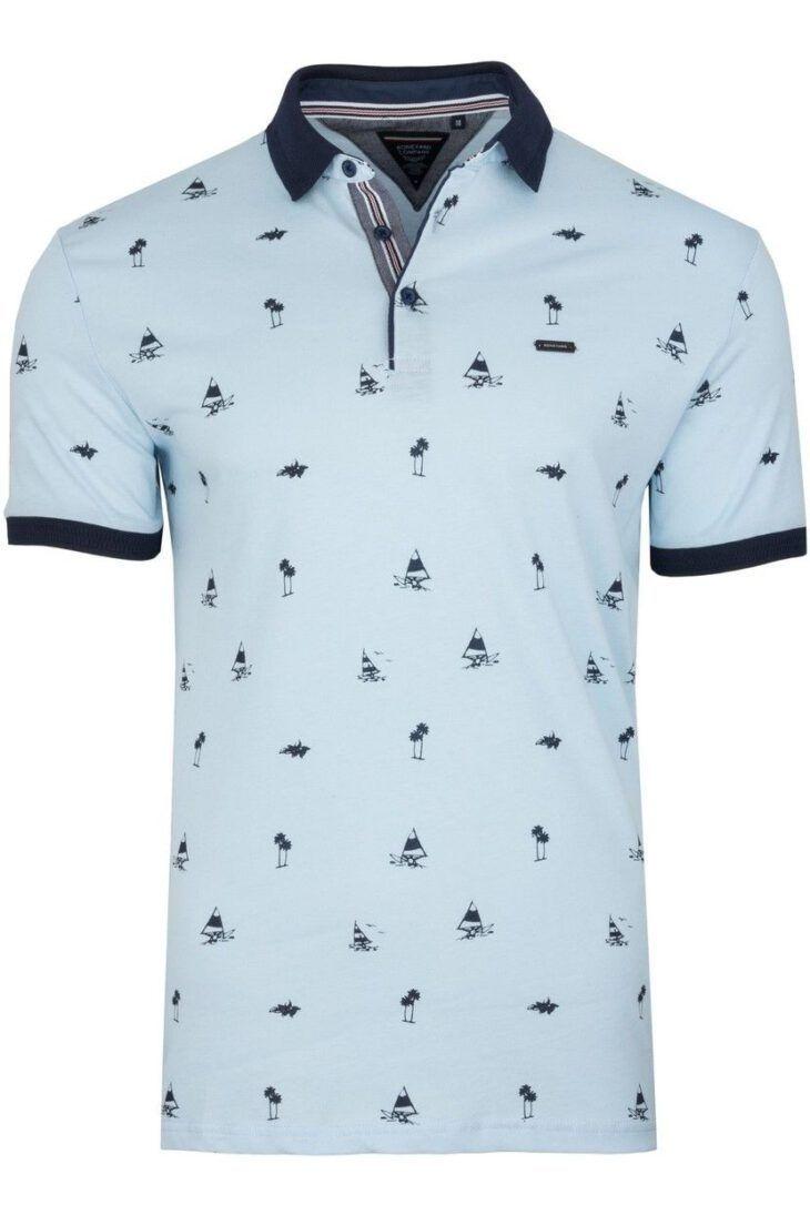 Koszulka Polo Niebieska Wzór BY6020