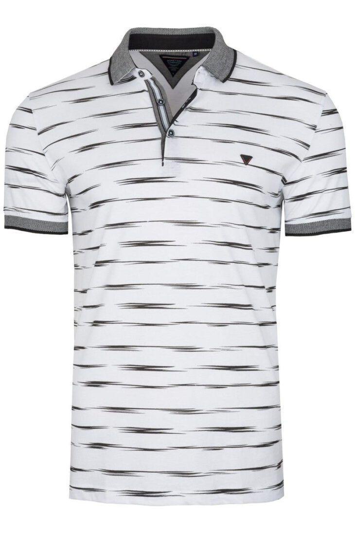 Koszulka Polo Biała Wzór BY6029