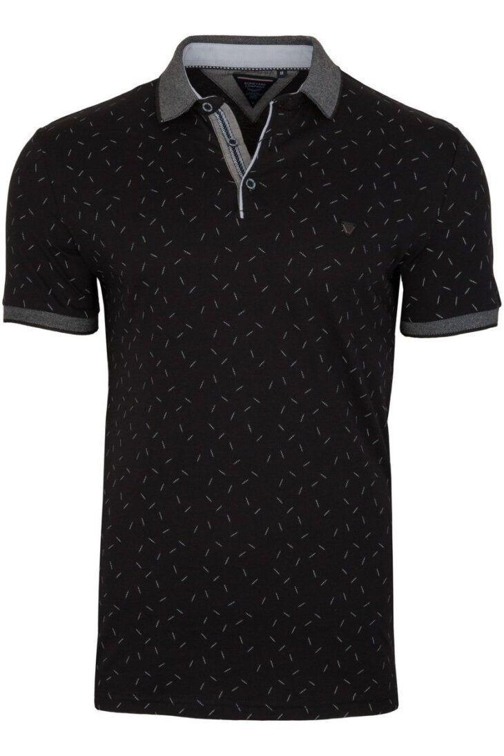 Koszulka Polo Czarna Wzór BY6028